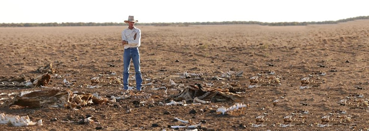 A very dry field, affected by a severe draught, with a man looking out in despair