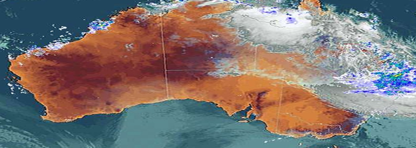 Image of Australia and a weather system looming over the east coast