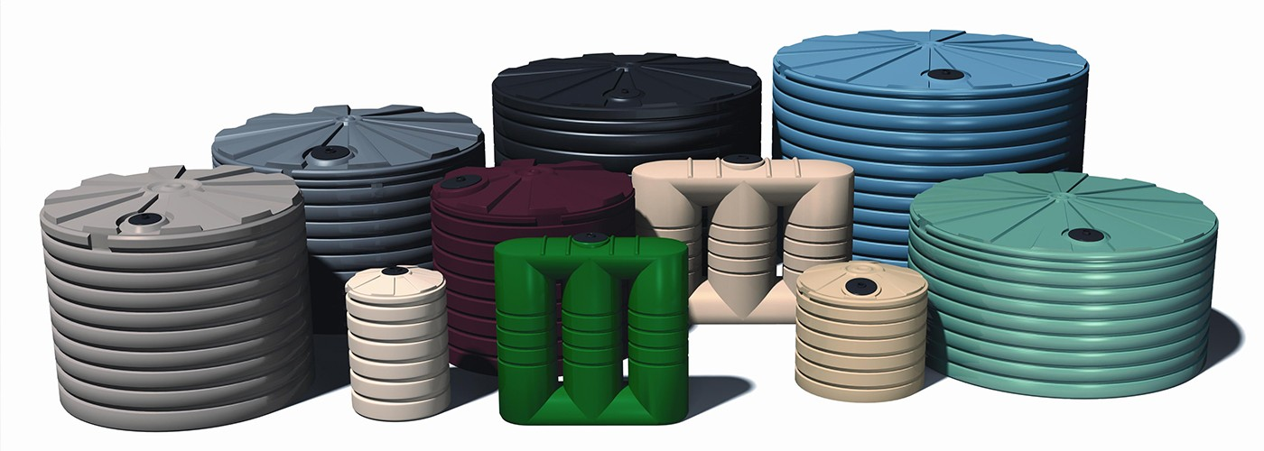 A collection of rain poly water tanks
