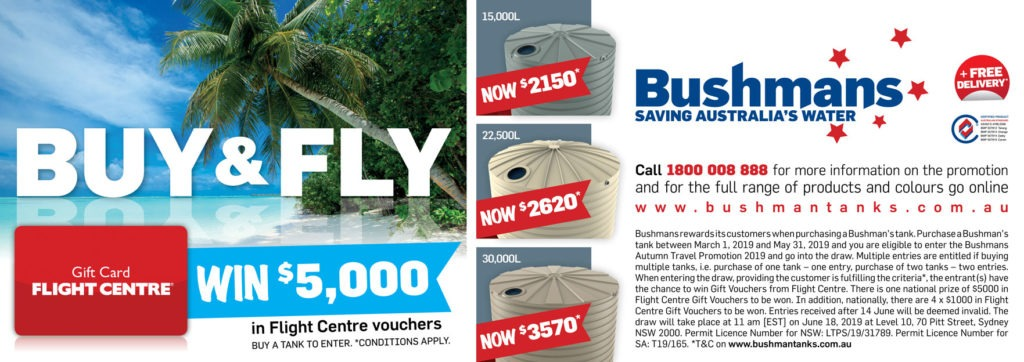Buy and Fly – Enter Bushmans Autumn Competiton and go into the draw to win $5,000 in Flight Centre Gift Vouchers
